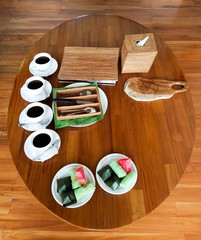 Coffee table setting.