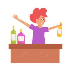 Bartender behind the bar.