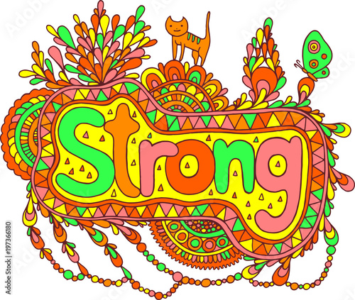Graphic Art With Mandala And Strong Word Doodle Lettering