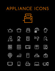 Set of Quality Isolated Universal Standard Minimal Simple Home Appliances White Thin Line Icons on Black Background
