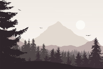 Printed roller blinds Gray traffic Mountain landscape with a forest under the sky with clouds and flying birds in retro colors