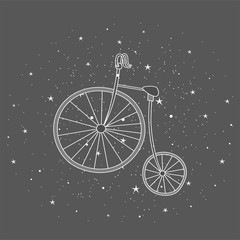 Retro bicycle with large front wheel painted in the style of doodle. Hand drawn elements for your designs dress, poster, card, t-shirt