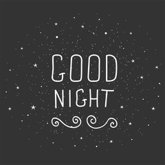 Black and white doodle typography poster with moon and stars. Cartoon cute card with lettering - Good night.
