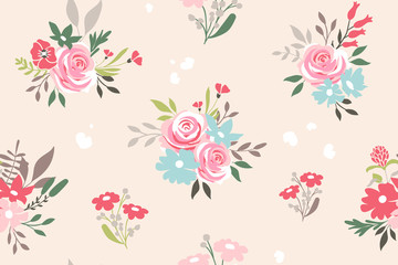 Seamless pattern with flowers . Vector floral background
