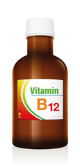 Vitamin B12, as a supplement to healthy diet and conscious nutrition for vegetarians and vegans - medical dummy vial bottle to prevent vitamin deficiency.