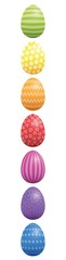 Easter eggs. Vertical lined up with different colors and patterns. Rainbow colored three-dimensional isolated vector illustration on white background.