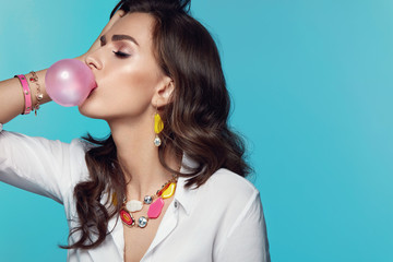 Fashion Woman With Pink Bubble Gum