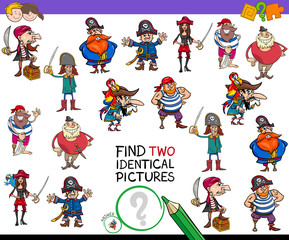 find two identical cartoon pirates game for kids