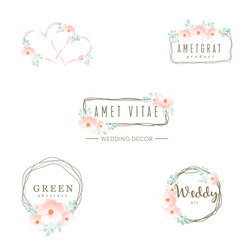 Wedding logo, icons set, floral design, frame and flowers, decoration vector elements