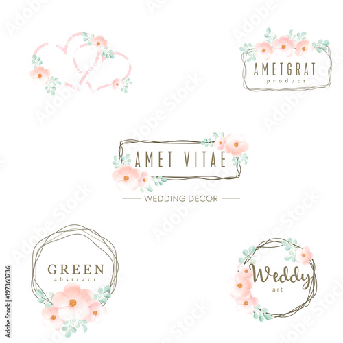 Wedding logo icons set floral design frame and flowers wedding logo icons set floral design frame and flowers decoration vector elements junglespirit Gallery