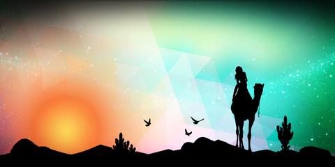 Desert safari silhouette art