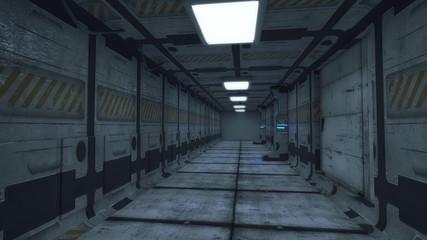 3D render. Futuristic interior spaceship design