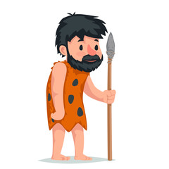 Ancient caveman with stone spear character icon cartoon design vector illustration