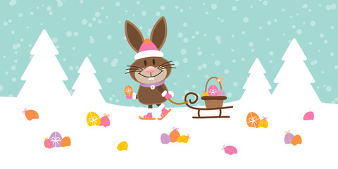 Bunny Sleigh Meadow Easter Eggs Snow Retro