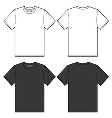 TEE Shirt top fashion flat technical drawing template