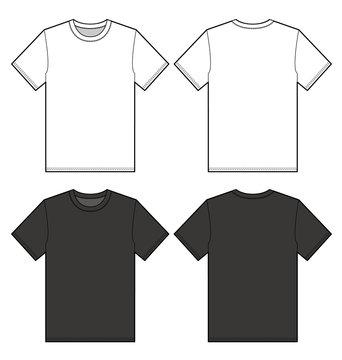 TEE Shirt top fashion flat technical drawing template