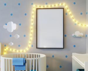 Mock up poster children's color room, with light bulbs. 3d illustration