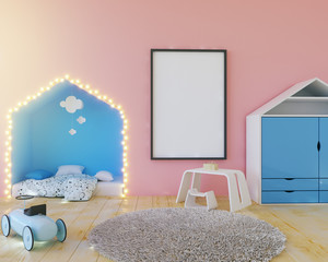 Mock up poster children's color room, with light bulbs. 3d illustration