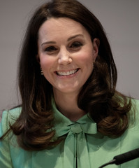 Britain's Catherine, Duchess of Cambridge speaks at a symposium at the Royal Society of Medicine, in London