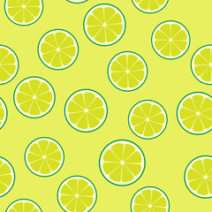 Limeade Lime Seamless Vector Pattern Tile. Green Halves Round Slices Randomly Arranged on Yellow-Green Background. Lemonade Stand Summer Picnic Party Decor. Food Packaging Design. Swatch Included