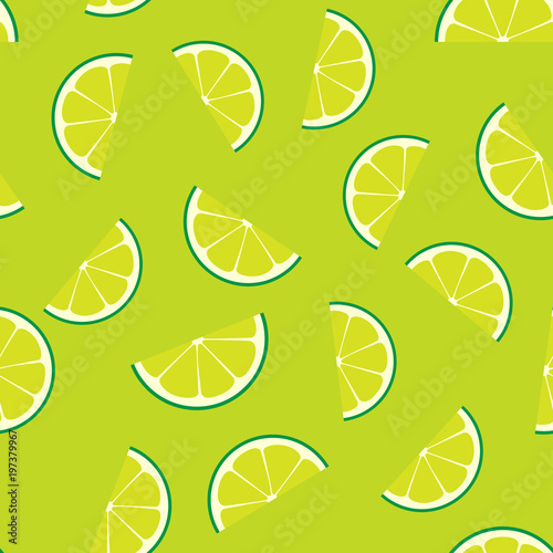 Limeade Lime Seamless Vector Pattern Tile Green Lime Half Slices
