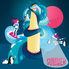 Summer time and party concept vector artwork designed around a splashing bottle. Vector illustration.
