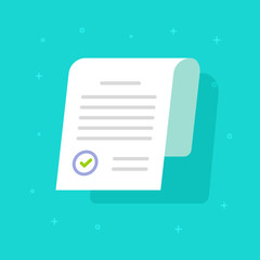 Document approved with stamp vector icon, flat cartoon paper doc application page with approval seal and text, idea or legal agreement form, license control accepting, registration or check allowed