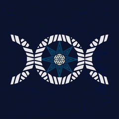 Modern variant of the Moon Triple goddess symbol with eight point star, symbol of different ancient gods. Vector illustration.