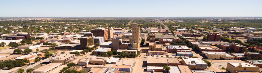 Self adhesive Wall Murals Cappuccino Sunday Morning Over Empty Street lubbock Texas Downtown Skyline Aerial