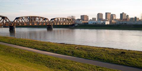 Lonely Sunday Morning Msd River Downtown City Skyline Dayton Ohio