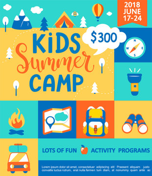 Poster for the Kids Summer camp, concept with handdrawn lettering,Camping and Travelling on holiday with a lot of camping equipment such as tent, backpack and others in flat style,vector illustration.