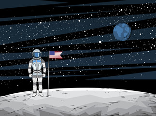 Astronaut with flag after on lunar surface with spacecraft on background