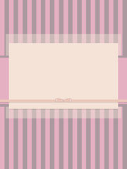 pink light striped paper scrub with bow of satin ribbon and semi-transparent layer postcard