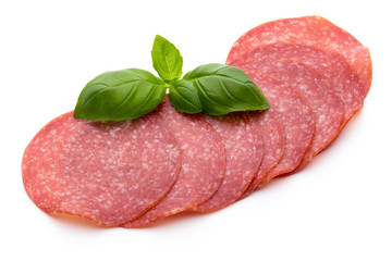 Salami slices isolated on white background.