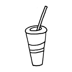 Sweet cartoon hand drawn drink illustration. Cute vector black and white drink illustration. Isolated monochrome doodle drink illustration on white background.