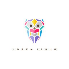 owl logo logotype colorful theme vector