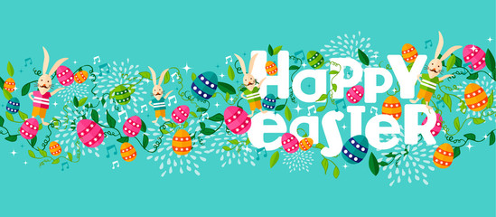Happy spring easter holiday web banner with bunny