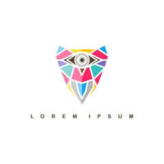one eye owl logo logotype colorful theme vector