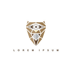 brown one eye owl logo logotype theme vector