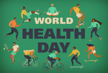 World Health Day 7th april with the image of doctors. Vector illustrations. Active young people. Healthy lifestyle. Roller skates, running, bicycle, run, walk, yoga. Design element colorful.