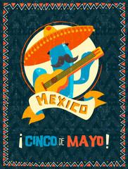 Cinco de mayo mexican mariachi cactus poster