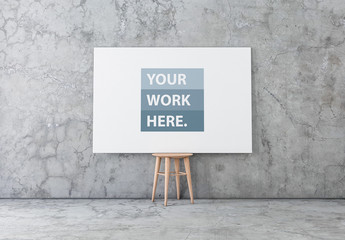 Horizontal Canvas Mockup on Wooden Chair