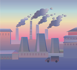 Industrial landscape in the evening. Ecology. Flat vectorial image of an industrial landscape with smoking pipes. Environmental pollution. Ecological catastrophy.