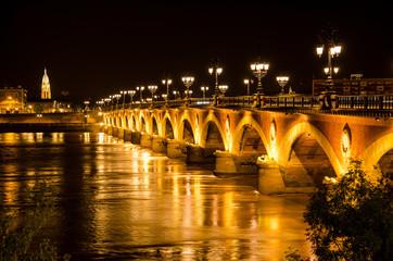 """Pont de Pierre"" in Bordeaux city by night"