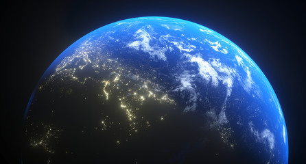 3D Rendering Of Realistic Planet Earth With Glow And Night Lights The Elements Of This Image Furnished By NASA For Textures