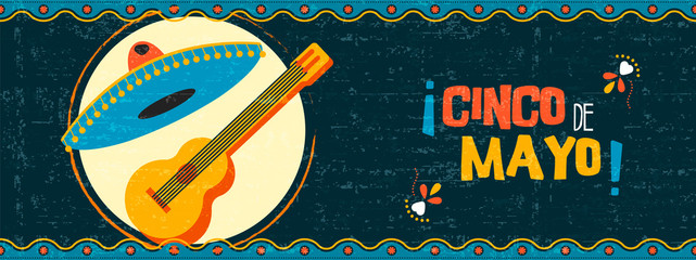 Happy cinco de mayo mexican mariachi web banner