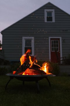 Campfire Fire Pit in the Backyard