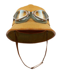 Tropical pith helmet with goggles on a white background. Protective headwear for motorcycle and automobile travel in hot weather.