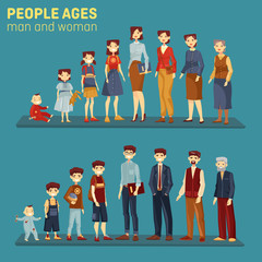 Men and women at different aging stages
