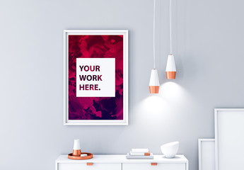 Vertical Framed Poster Mockup with Contemporary Furniture